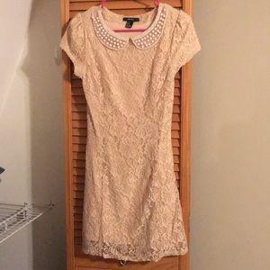Blush lace and pearl dress